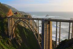 Bixby Creek Bridge (KC Mike Day) Tags: ocean bridge seascape water car stone landscape concrete coast highway waves arch pacific pch highway1 coastline rugged bixby bixbybridge pacificcoasthighway
