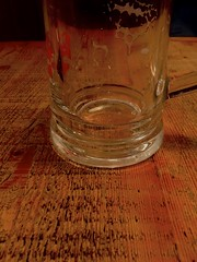 Glass & table (MichaelWard82) Tags: wood distortion beer glass table restaurant foam stein distorting tankard