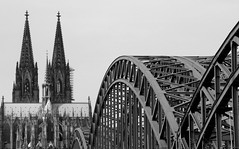 Bridge to the past... (RALPHKE) Tags: city travel bridge church architecture canon buildings germany deutschland blackwhite flickr cathedral structures cologne architectural koln klnerdom colognecathedral keulen tallbuildings 2016 hohenzollernbrcke steelstructures hohenzollernbridge cityofcologne bridgetothepast canoneos750d