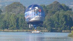 Airforce balloon lands on police boat (spelio) Tags: water festival mar hotair balloon australia canberra act 2016 lakeburleygriffin