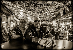 Two in the Dog  and Parrot, Newcastle upon Tyne. (CWhatPhotos) Tags: pictures two portrait people dog sun white house fish black men eye love me public monochrome sunglasses sepia newcastle that mono glasses photo pub couple mine foto with view angle photos wide picture parrot olympus shades tyne fisheye have together ii fotos mens which mk contain upon omd em10 samyang cwhatphotos thedogandparrot