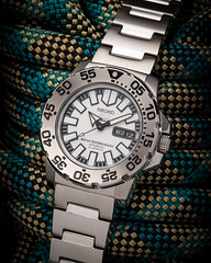 23 Jewels. (yeahwotever) Tags: white sports glass face monster movement divers crystal 5 watch rope automatic mens seiko rotating markers stainless polished brushed bezel lumibrite 7s36 hardlex snzf45k1