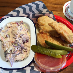 Belles hot chicken tenders for lunch with coleslaw (ultrakml) Tags: food chicken lunch australia melbourne victoria richmond iphoto coleslaw belles appleiphone6splus