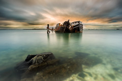 Long Term Parking (robjdickinson) Tags: ocean new sea seascape water weather sunrise boats long exposure zealand wreck southland bluff invercargill rjdlandscapes