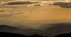 Lights on (Artur Tomaz Photography) Tags: mountain luz portugal nature yellow fog clouds landscape natural natureza paisagem amarelo prdosol layers montanha serradaestrela nevoeiro nunvens