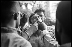Panguni Celebration - Singapore (waex99) Tags: leica film yellow analog pain singapore indian faith rangefinder ritual singapour hindu rituel argentique souffrance relgion foix panguni