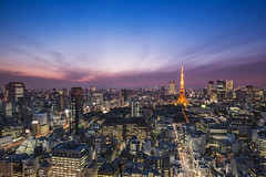 Tokyo ([~Bryan~]) Tags: city light sunset weather japan night tokyo cityscape tokyotower metropolis bluehour clearsky urbanlandscape