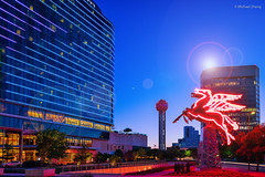 Dallas: The Flying Red Horse (GoMustang - ) Tags: city blue red horse dallas downtown cityscape texas nightscape pegasus dfw omini