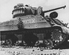 American tank M4 Sherman, wrecked on Iwo Jima. Pay attention that the tank is well visible additional reservation from the boards.