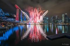 Marvels Captain America: Civil War (Leslie Hui) Tags: city singapore cityscape fireworks mbs marinabay marvelheroes marinabaysands singaporefinancialdistrict teamcap
