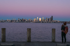Skyline view (matthucke) Tags: seattle sunset skyline pier skyscrapers alki westseattle