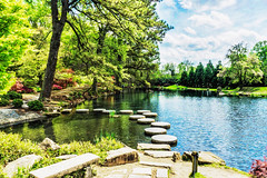 The Garden in April (Painting)- (mjdrhd) Tags: park trees green art nature beauty painting spring pond richmond