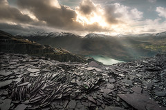 Labour (jellyfire) Tags: winter light sky cloud snow mountains abandoned wales mines snowdon slate snowdonia derelict quarry crepuscularrays dinorwic capelcurig landscapephotography dinorwig leeacaster