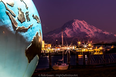 Purple-Mountain-Globe (Rob Green - SmokingPit.com) Tags: city blue light sky beach water skyline architecture night clouds speed reflections landscape photography reflecting golden bay harbor washington thea mt slow waterfront nocturnal purple outdoor vibrant south awesome landmark calm historic landing reflect maritime rainier shutter boating boardwalk wa waters pugetsound tacoma bluehour commencement streaks foss brilliant nocturne waterway saltwater robgreen