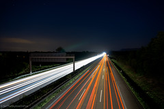 """Autobahn"" light trails (SetTheSkylineOnFire) Tags: light cars germany lights highway sony autobahn headlights lightrail lightroom sonyalpha6000 alpha6000 sonya6000"