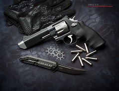 Smith & Wesson 627 V-Comp Still Life (Fly to Water) Tags: gun hand performance smith center special pistol p brake revolver handgun combat magnum muzzle 38 357 tactical 627 wesson compensator compensated vcomp