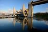 The Falkirk Wheel in action. (iancowe) Tags: winter sunset reflection water wheel evening scotland clyde boat canal lift lock scottish forth rotating falkirk unioncanal forthandclydecanal