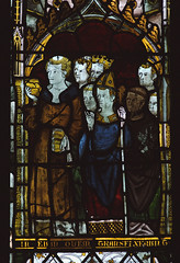 """Worfield, Shropshire, """"St. Peter's"""", St. Nicholas's chapel, stained glass window, detail (groenling) Tags: uk greatbritain england stpeters window glass saint john king shropshire britain mary jesus stainedglass gb crucifixion richardii salop worfield"""