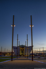 Titanic @ Twilight (dareangel_2000) Tags: nightphotography landscape twilight cityscape dusk belfast symmetry architectural northernireland titanic coantrim queensisland titanicquarter slipways dariacasement titanicbuilding tqeventsbelfast gantrylegs titanicisland