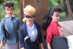 Waiting for the Bus (Emily1957) Tags: light red fashion vintage toy toys nikon doll dolls barbie kitlens naturallight mattel cateyeglasses nikond40 vintageponytailbarbienumber4 vintageponytailbarbienumber3