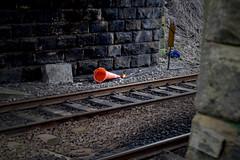 The Cone (StevenParsons42) Tags: road bridge orange cone yorkshire railway line litter rubbish grime horsforth