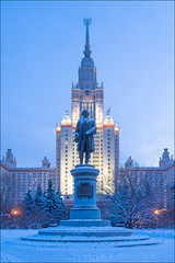 Russia. Moscow. Moscow State University. Monument to Lomonosov. (Yuri Degtyarev) Tags: leica city winter snow building monument architecture sisters skyscraper university state russia outdoor moscow main msu ciudad seven soviet stadt russian moskau mosca federation ussr  moscou lomonosov x2  stalinist epoch mosc          ehir