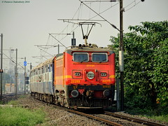 Aggressive front panto action, red chilli WAP 4 on a roll ! Winter delight, Indian Railways.. :) (Clicker Purnava) Tags: railroad winter west speed train ir er outdoor indian rail front vehicle locomotive express hbc nr railways bengal amritsar panto asr howrah mps superfast sealdah irfca 12318 clw blae akaltakht sdah wap4 balarambati