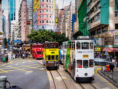Hong Kong Tramways (Marc Rauw.) Tags: street city urban colors lumix hongkong colorful cityscape colours traffic transport streetphotography streetlife olympus panasonic transportation 20mm colourful omd dingding wanchai urbanity m43 em10 tramways microfourthirds 43 panasoniclumix20mmf17 olympusomdem10