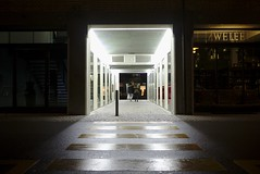 Zweifel (maekke) Tags: street urban woman man color architecture night dark switzerland couple pov availablelight streetphotography tunnel symmetry pointofview fujifilm zürich ch 2016 hürlimannareal x100t