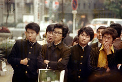 30-618 (ndpa / s. lundeen, archivist) Tags: city winter people color men fall film japan 30 35mm japanese clothing kyoto locals faces candid coat nick citylife streetphotography streetlife clothes spots pedestrians local 1970s coats damaged 1972 distressed dewolf localpeople honshu youngmen discolored heatdamage damagednegative nickdewolf photographbynickdewolf reel30