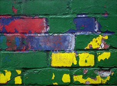 undecided (me*voil) Tags: abstract brick lines wall paint colours aged cracks kaputt