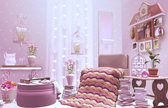 Home is where love resides (Alexa Maravilla/Spunknbrains) Tags: pink home furniture secondlife themustardseed closertotheheart shabbytabby relayforlifeofsecondlife truenorthdesigns chicbuildings irriesdollhouse sl8thannualhomegardenexpo