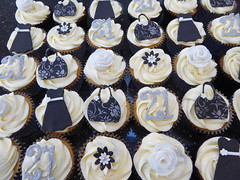 21st Cupcakes (Victorious_Sponge) Tags: flowers white black silver cupcakes 21st 18th dresses handbags