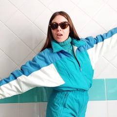 10890638_274950152675375_1800675857_n (onesieworld) Tags: baby ski sexy girl fashion vintage shiny retro 80s nylon 90s catsuit snowsuit skisuit
