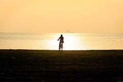 387 - Denize doru (Ata Foto Grup) Tags: sunset sea sky sun reflection bike bicycle gold golden evening women alone ship istanbul sparkle biking silhoutte goldenhour gol gne silet bisiklet yeilyurt yesilyurt kadn srmek parlama parlamak gnatm