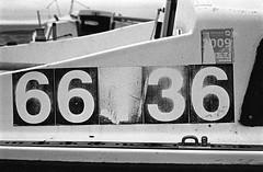 66136 (Man with Red Eyes) Tags: 6 3 slr film monochrome analog 35mm 1 blackwhite kodak trix f100 lytham number peelingpaint 50mmf18d semistand 11100 silverhalide pyrocathd v850 66136