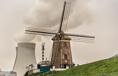 Alternative Energy (Franco Beccari) Tags: world trip travel red vacation white holiday black color colour green tourism nature windmill yellow photography nikon energy europe belgium smoke nuclear nikkor mulino doel d600 nikond600
