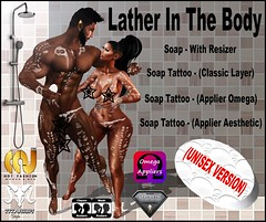 Lather In The Body - Soap Tattoo (Unisex Version) (Lito Titanium) Tags: new eve boy adam classic girl female soap mujer skin body femme omega smith lena foam enzo layer exclusive hombre belleza homme brazilia aesthetic jabon maitreya exclusivo slink applier allbody niramyth