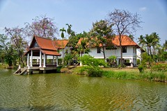Gardener's Village in Chaloem Kanchanaphisek Park in Nonthaburi, Thailand (UweBKK ( 77 on )) Tags: park trees houses house lake water architecture garden thailand pond asia village sony southeast alpha 77 province slt gardener dlsr nonthaburi kanchanaphisek chaloem sonyflickraward