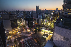 Morning Shibuya ([~Bryan~]) Tags: city morning station weather japan sunrise tokyo cityscape traffic shibuya urbanlandscape shibuyacrossing zebracross