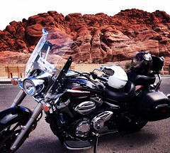 Red Rock Ride (ronica's ride) Tags: travel vacation square lasvegas lofi roadtrip adventure journey squareformat motorcycle yamaha biker redrock vstar godscountry motochick iphoneography motovlog instagramapp motocouple