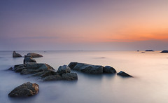 tanjung bidara beach (gilbertchuachian_siong) Tags: longexposure travel sunset sea beach nature water stone landscape photography nikon asia photographer outdoor famous horizon relaxing sigma explore malaysia destination interest melaka tanjung selat cokin nd4 bidara nikond7000 iamnikon photohopexpress