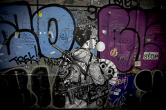 Japanese Street Art (Connor_96) Tags: woman macro girl beautiful japan japanese graffiti tokyo nikon women gun mask hellokitty shibuya stop kabuki headphones kimono samurai bubblegum colourful adidas swords tamron handcuffs handfan d610 mashinegun