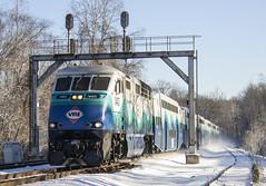 VRE Sounder train at Clifton (Michael Karlik) Tags: railroad snow train virginia transit sound commuter passenger signal clifton bombardier sounder f59phi