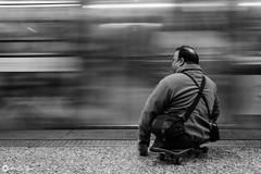 MetroSkate (AriCaFoix) Tags: chile street santiago bw man train canon subway tren calle metro bn skate 1022mm hombre xsi crippled lisiado efs1022mmf3545usm invalido 450d