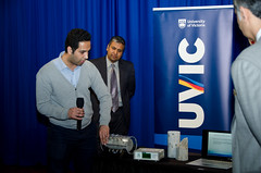 Pejman Azarsa (left), UVic PhD candidate and Dr. Rishi Gupta demonstrate BCKDF and CFI-funded electrical resistivity meter on concrete cylinders, at BCKDF funding announcement at the BC Legislature, April 4, 2016. (uvic) Tags: castle engineering uvic gupta civilengineering 2016 2015 universityofvictoria bcgovernment suzanneahearne bckdf klimstra
