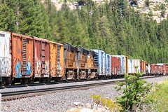 Distributed Power Units (DPU) at Soda Springs (SantaFe5811) Tags: california vacation usa canon photography holidays nevada amtrak unionpacific passenger truckee donnerpass manifest sodasprings intermodal p42 sd70m sd70ace es44ac ac6000cw canon7d