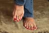 Demetria (IPMT) Tags: blue red sexy feet foot rojo zoya warm toes painted polish creme vermelho jeans barefoot poppy barefeet pedicure geranium toenails toenail geranio pedi descalza demetria