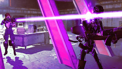 545 (Beth Amphetamines) Tags: pink wallpaper building outfit screenshot mix pretty purple colleen rifle beam synth 2pac laser brunette terminator derelict blast lazer gen2 courser fallout4