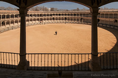 Plaza Toros de RONDA (Carhove) Tags: light people architecture spain shadows andalucia ronde silhuettes